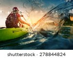 young lady paddling hard the... | Shutterstock . vector #278844824