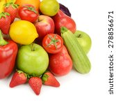 fruits and vegetables isolated... | Shutterstock . vector #278856671