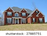 New Two-Story Brick Home - stock photo