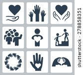 charity and volunteer icon set | Shutterstock .eps vector #278858351