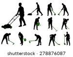 gardening work silhouettes | Shutterstock .eps vector #278876087