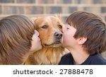 boys kissing dog | Shutterstock . vector #27888478