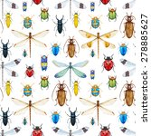 Watercolor Pattern Dragonflies...