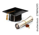graduation cap and diploma... | Shutterstock .eps vector #278896595