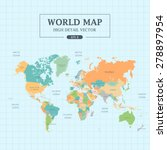 world map full color high... | Shutterstock .eps vector #278897954