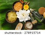 spa setting on banana leaf | Shutterstock . vector #278915714