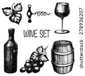 Vector Hand Drawn Wine Set