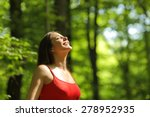 woman breathing fresh air in a... | Shutterstock . vector #278952935