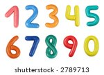 Colorful digits made from plasticine (isolated on white) - stock photo