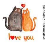 cats love. heart. watercolor... | Shutterstock . vector #278980451