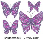 vector set of pink ornamental ... | Shutterstock .eps vector #279021884