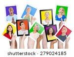 diversity hands digital devices ... | Shutterstock . vector #279024185