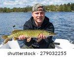 boat fishing in swedish skerries | Shutterstock . vector #279032255