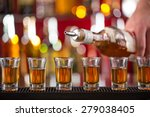 snifters on bar desk  close up. | Shutterstock . vector #279038405