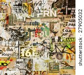 Stock photo grunge background with old torn posters 27905032