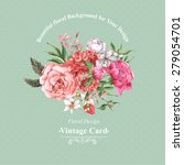 vintage watercolor greeting... | Shutterstock .eps vector #279054701