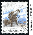 Small photo of DENMARK - CIRCA 2004: stamp printed by Denmark, shows Heimdal guarding Bifrost bridge, circa 2004