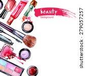 watercolor cosmetics pattern ... | Shutterstock .eps vector #279057257