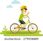 happy little boy in helmet... | Shutterstock .eps vector #279058889