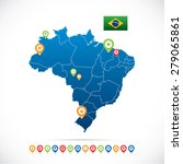 brazil map with icons | Shutterstock .eps vector #279065861