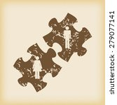 grungy brown icon with puzzle...