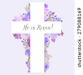 Cross With Flowers. Watercolor...