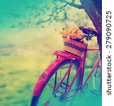 Vintage Bicycle With Flowers O...