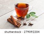 Glass Cup Of Tea With Cinnamon...