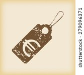 grungy brown icon with string...