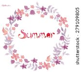 watercolor vector summer wreath   Shutterstock .eps vector #279109805