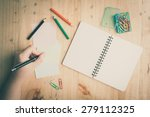 notebook and sticky paper ... | Shutterstock . vector #279112325
