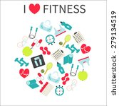 i  love fitness. fitness  and... | Shutterstock .eps vector #279134519