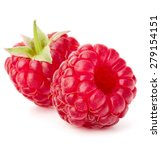 Ripe Raspberries Isolated On...