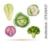 set of watercolor vegetables ... | Shutterstock .eps vector #279156917