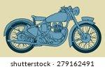 Vintage Motorcycle Hand Drawn...
