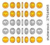 heart coins rotation animation... | Shutterstock .eps vector #279164045