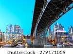 Stock photo vancouver bc canada skylines next to granville bridge along false creek at night vancouver is the 279171059