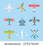 color airplanes and helicopters ... | Shutterstock .eps vector #279174245