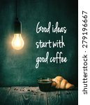 cup of coffee and croissant... | Shutterstock . vector #279196667