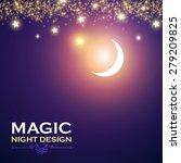Magic night. Vector illustration