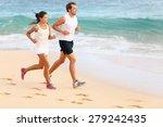running couple jogging on beach ... | Shutterstock . vector #279242435