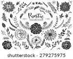 Stock vector rustic decorative plants and flowers collection hand drawn vintage vector design elements 279275975