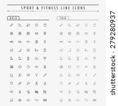 sport and fitness line icons on ... | Shutterstock .eps vector #279280937