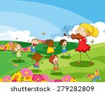 girl playing violin for the... | Shutterstock .eps vector #279282809