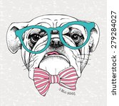 Stock vector portrait of a bulldog in green glasses and pink striped tie on gray grunge background vector 279284027
