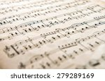 Small photo of Milan, Lombardy, Italy - March 3, 2014-: Old yellowed aged music score