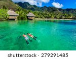young couple snorkeling over... | Shutterstock . vector #279291485