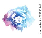 seafood logo with elegant crab... | Shutterstock .eps vector #279291947