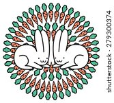 rabbits and carrots print made...   Shutterstock .eps vector #279300374