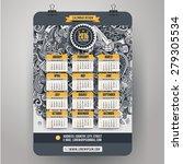 doodles social media calendar... | Shutterstock .eps vector #279305534